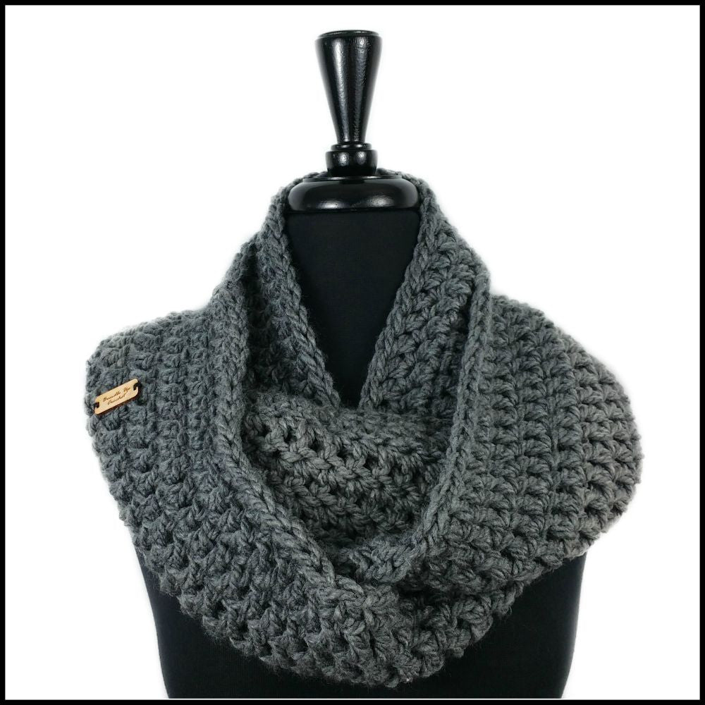 Charcoal Chunky Infinity Scarf - Bundle Up Crochet - 1