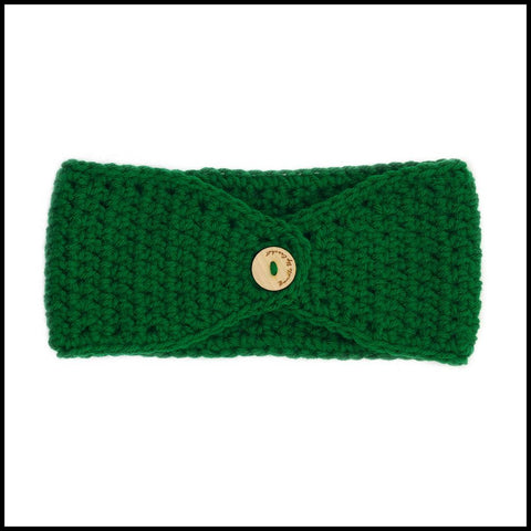 Green Earwarmer with White & Red Flower - Bundle Up Crochet - 4