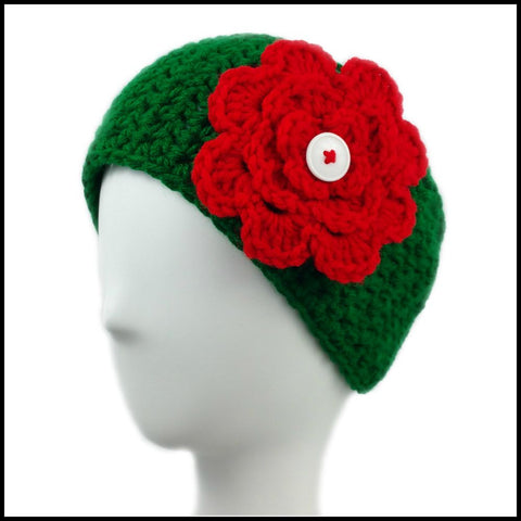 Green Earwarmer with White & Red Flower - Bundle Up Crochet - 2