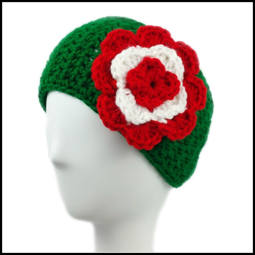 Green Earwarmer with Red & White Flower - Bundle Up Crochet - 1
