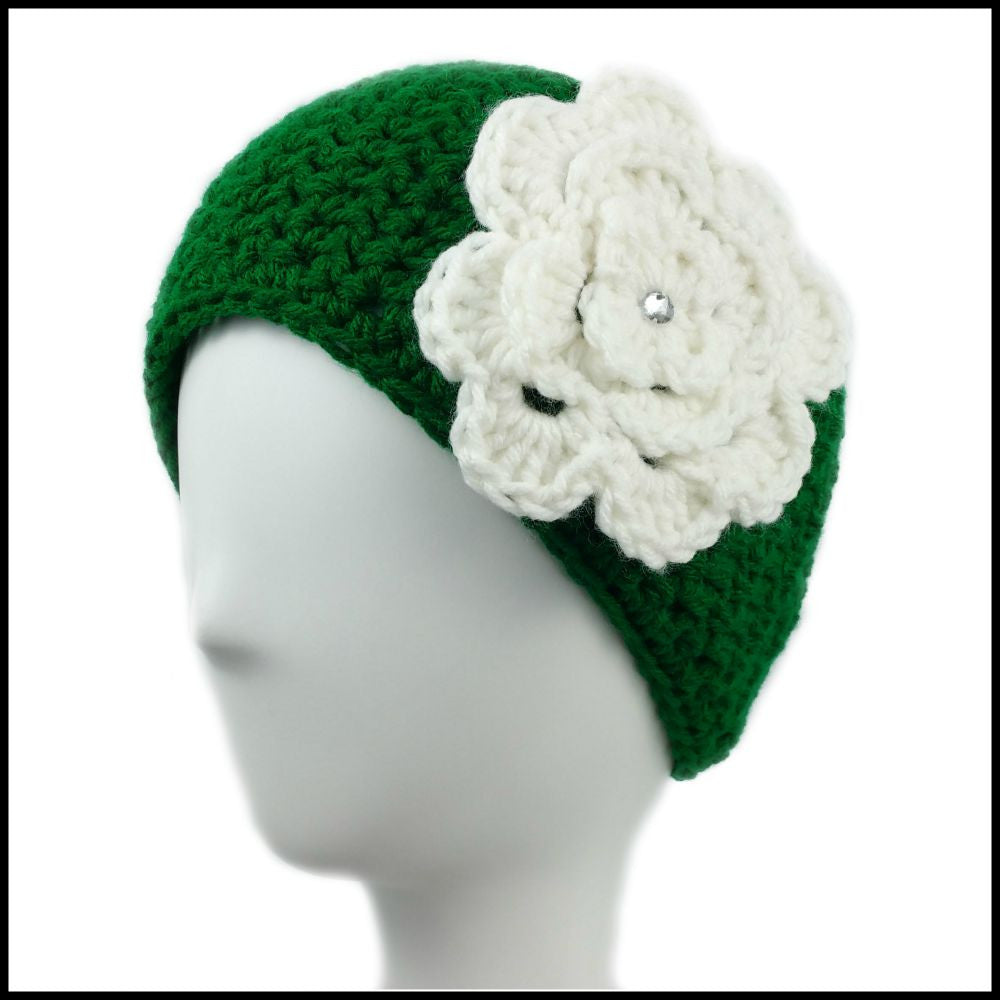 Green Earwarmer with White Flower - Bundle Up Crochet - 1