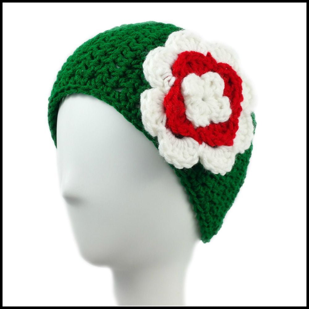 Green Earwarmer with White & Red Flower - Bundle Up Crochet - 1