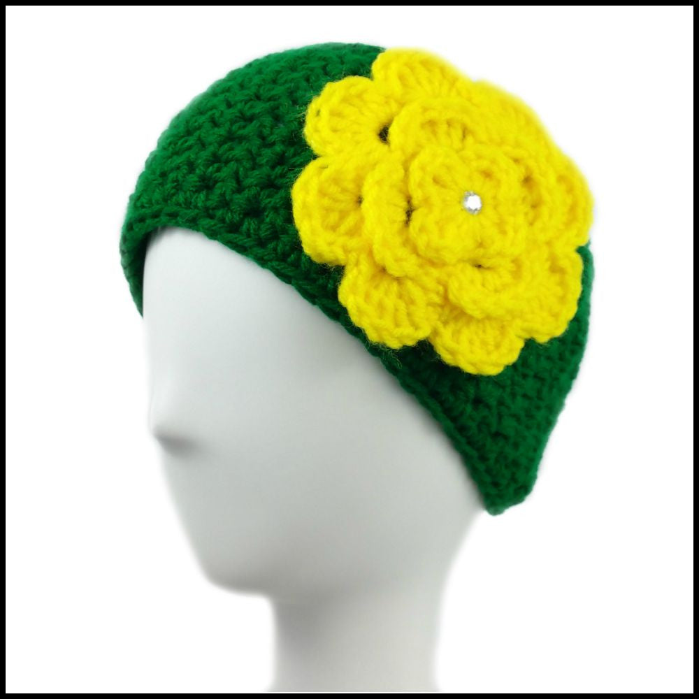 Green Earwarmer with Yellow Flower - Bundle Up Crochet - 1