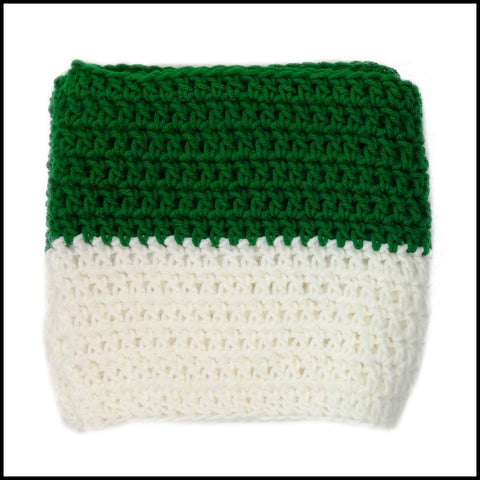 Green & White Infinity Scarf - Bundle Up Crochet - 3