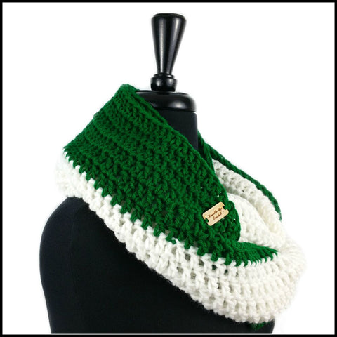 Green & White Infinity Scarf - Bundle Up Crochet - 2