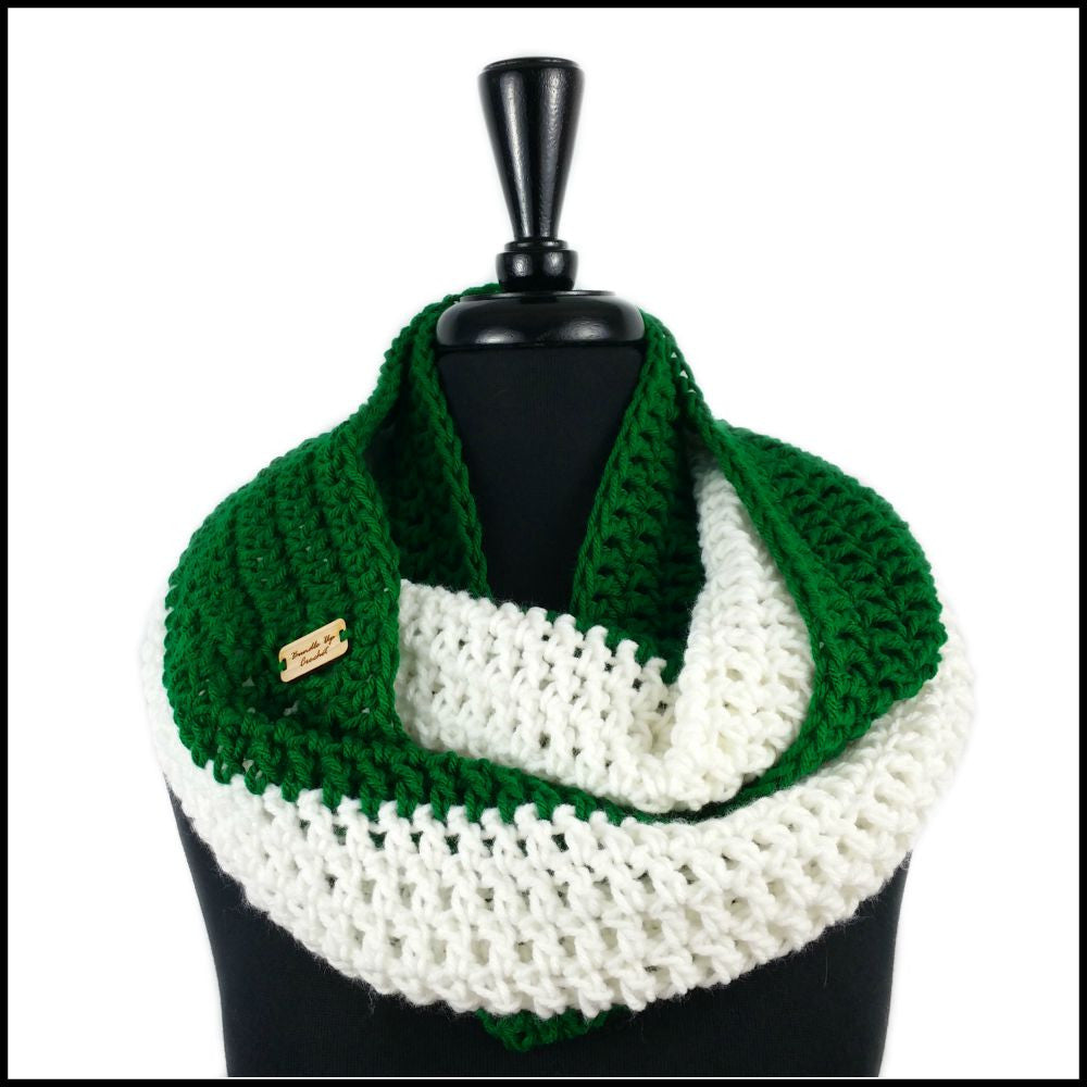 Green & White Infinity Scarf - Bundle Up Crochet - 1