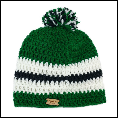 Green, White & Black Hat - Bundle Up Crochet - 4