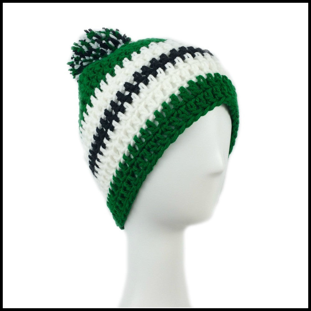 Green, White & Black Hat - Bundle Up Crochet - 1