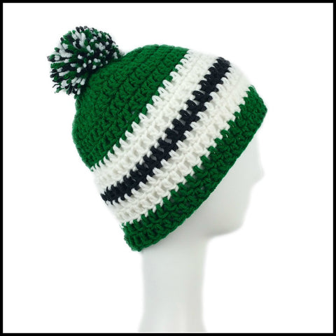 Green, White & Black Hat - Bundle Up Crochet - 2