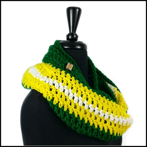 Green, Yellow & White Infinity Scarf - Bundle Up Crochet - 2