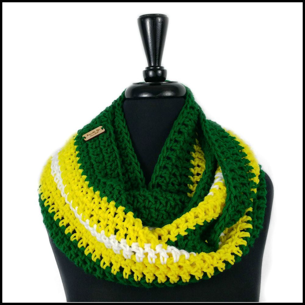 Green, Yellow & White Infinity Scarf - Bundle Up Crochet - 1