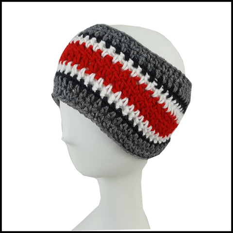 Charcoal Gray, Black, White & Red Earwarmer