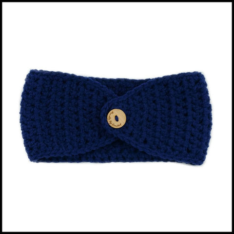 Navy Blue Earwarmer with Yellow Flower - Bundle Up Crochet - 5