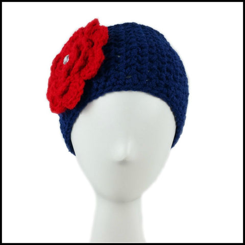 Navy Blue Earwarmer with Red Flower - Bundle Up Crochet - 2