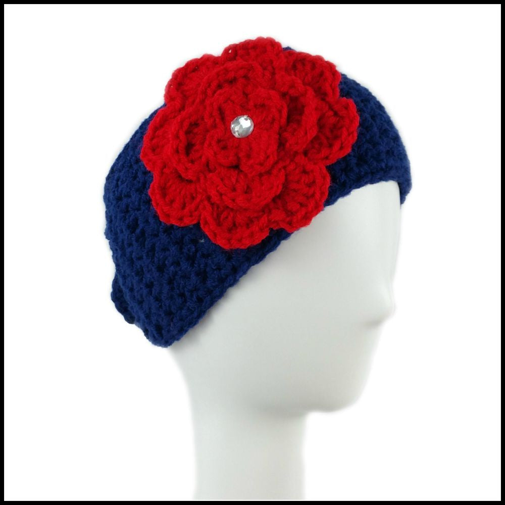 Navy Blue Earwarmer with Red Flower - Bundle Up Crochet - 1
