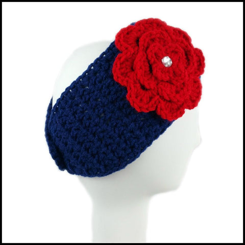 Navy Blue Earwarmer with Red Flower - Bundle Up Crochet - 3
