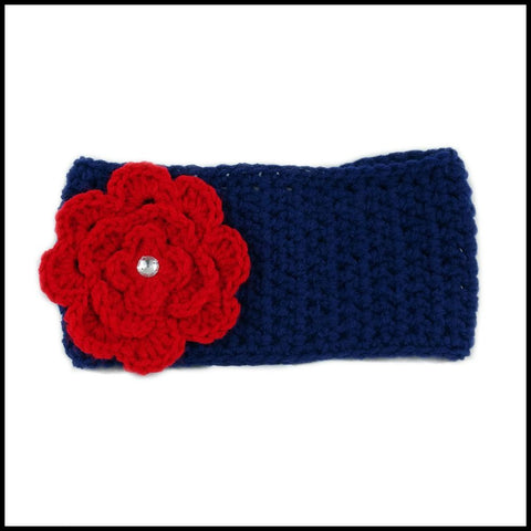 Navy Blue Earwarmer with Red Flower - Bundle Up Crochet - 4
