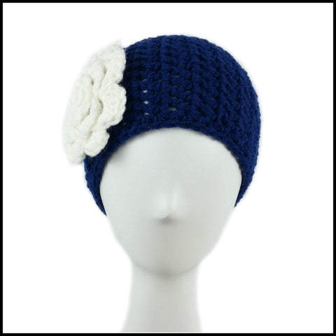 Navy Blue Earwarmer with White Flower - Bundle Up Crochet - 2