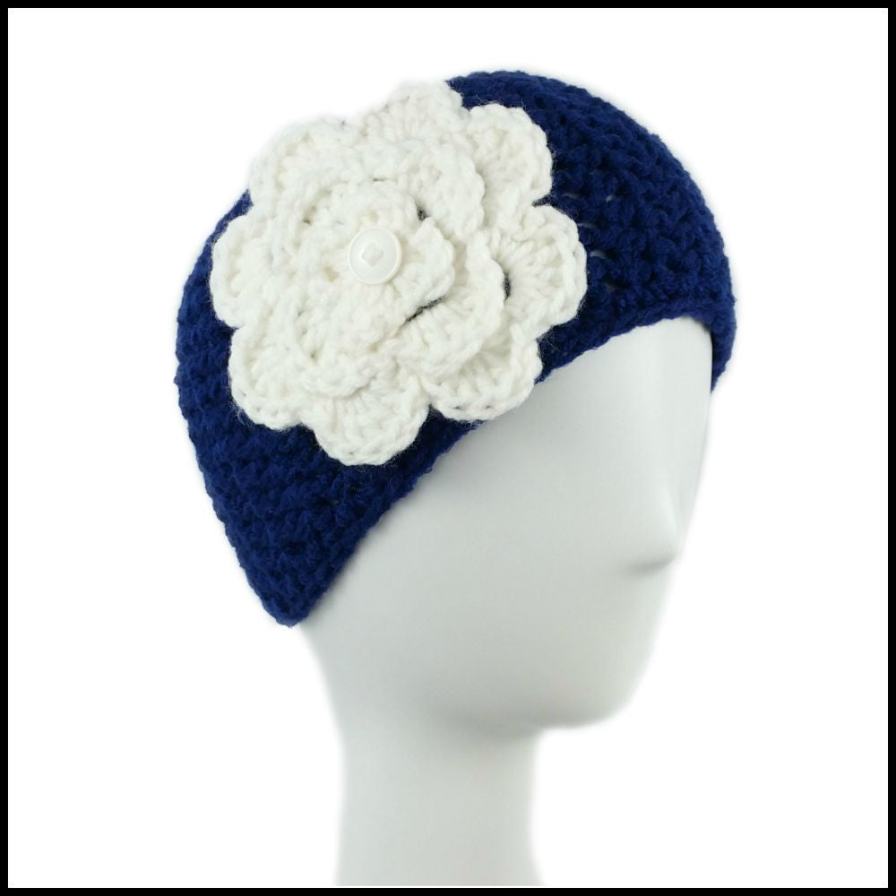 Navy Blue Earwarmer with White Flower - Bundle Up Crochet - 1