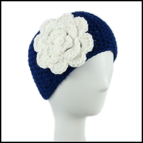 Navy Blue Earwarmer with Red Flower - Bundle Up Crochet - 6