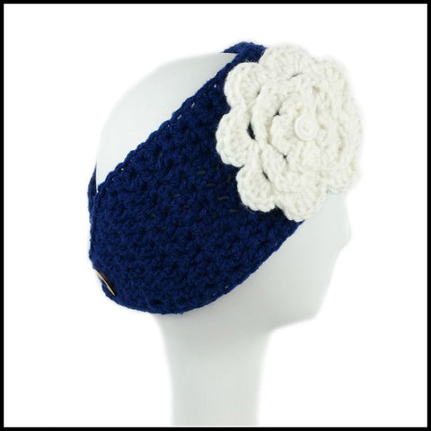 Navy Blue Earwarmer with White Flower - Bundle Up Crochet - 3
