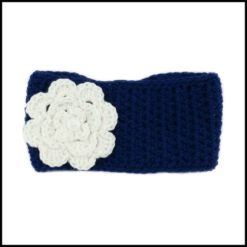 Navy Blue Earwarmer with White Flower - Bundle Up Crochet - 4