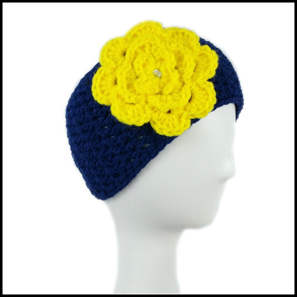 Navy Blue Earwarmer with Yellow Flower - Bundle Up Crochet - 1