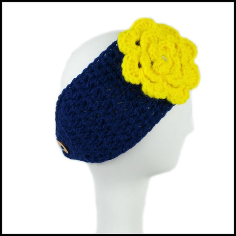 Navy Blue Earwarmer with Yellow Flower - Bundle Up Crochet - 3