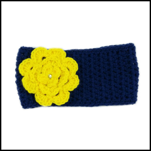 Navy Blue Earwarmer with Yellow Flower - Bundle Up Crochet - 4