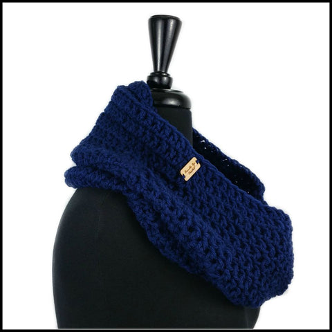 Navy Blue Infinity Scarf - Bundle Up Crochet - 2