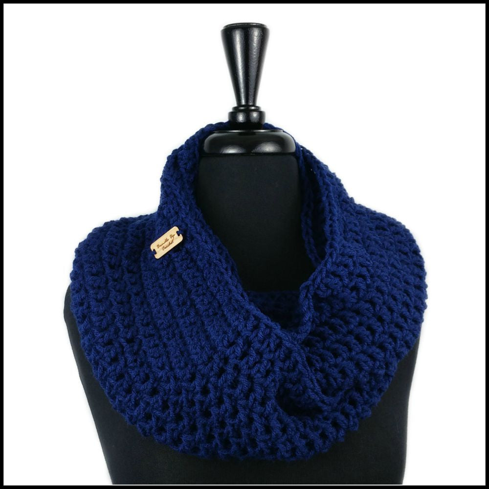 Navy Blue Infinity Scarf - Bundle Up Crochet - 1
