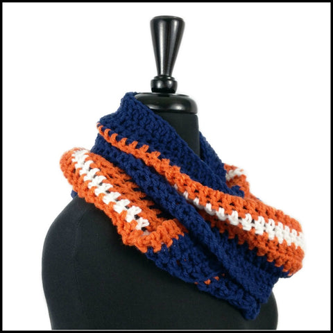 Navy Blue, Burnt Orange & White Infinity Scarf - Bundle Up Crochet - 2
