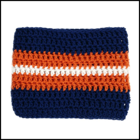 Navy Blue, Burnt Orange & White Infinity Scarf - Bundle Up Crochet - 3