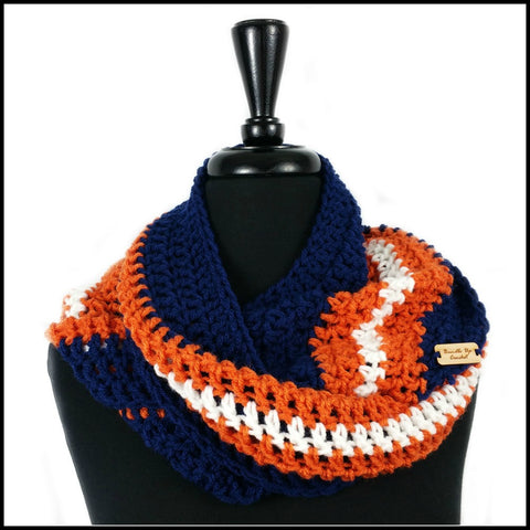 Navy Blue, Burnt Orange & White Infinity Scarf - Bundle Up Crochet - 1