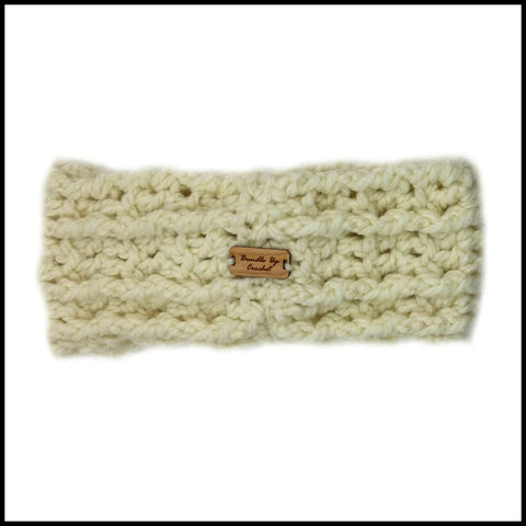 Soft White Chunky Criss Cross Earwarmer - Bundle Up Crochet - 4