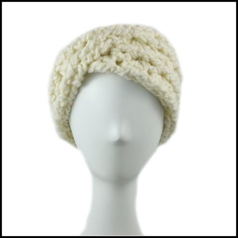Soft White Chunky Criss Cross Earwarmer - Bundle Up Crochet - 2