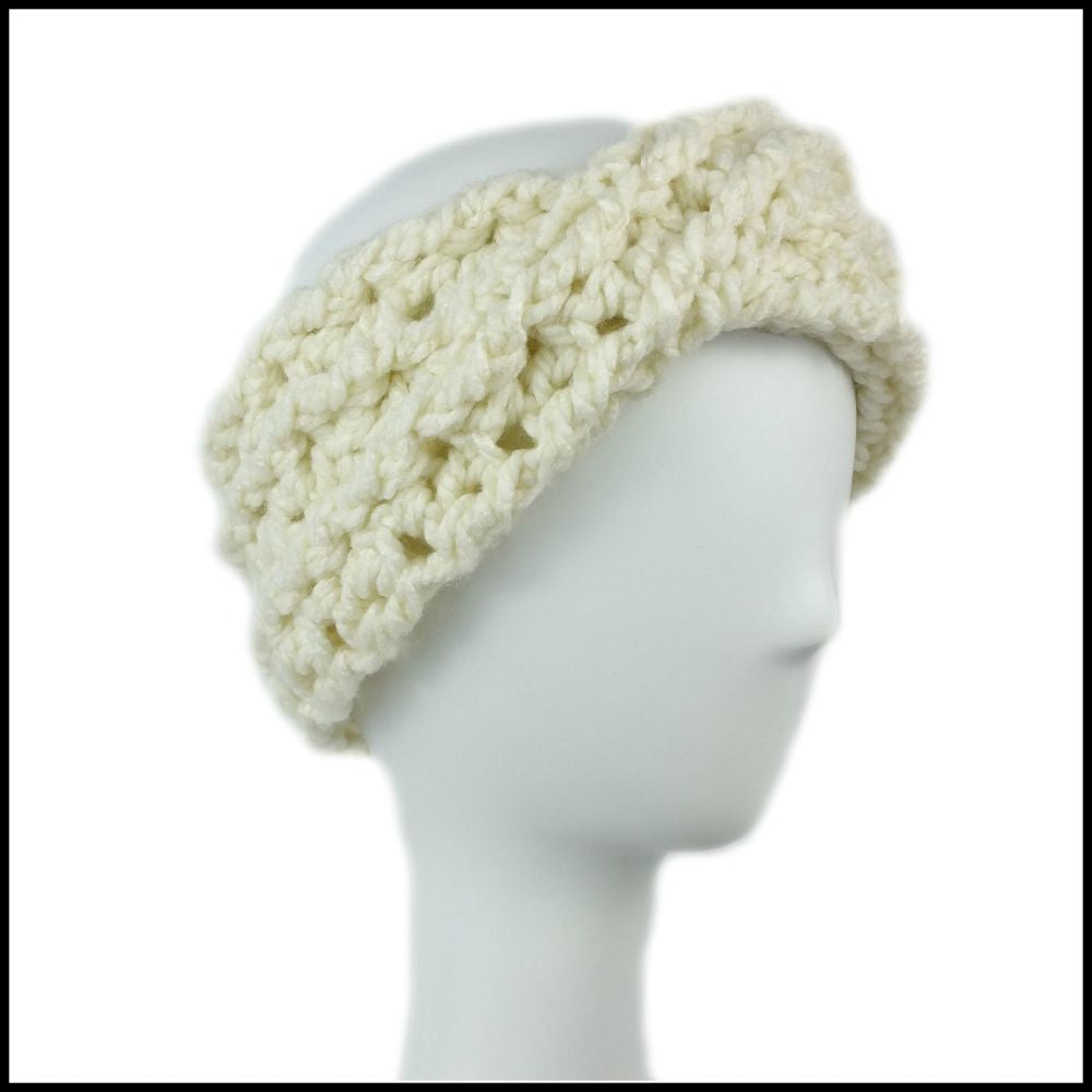 Soft White Chunky Criss Cross Earwarmer - Bundle Up Crochet - 1