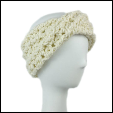 Soft White Chunky Criss Cross Earwarmer