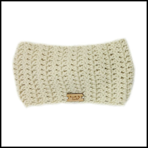 Beige Cinch Turban Earwarmer - Bundle Up Crochet - 5