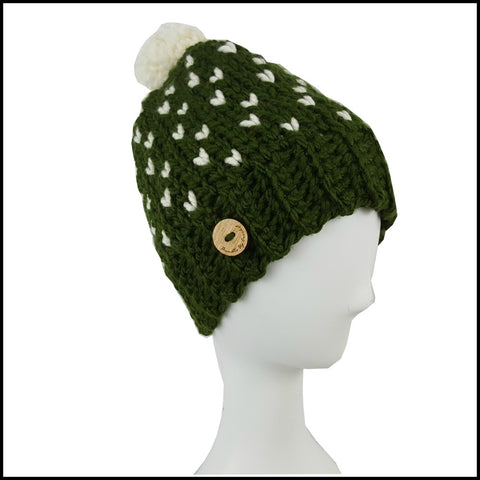 Chunky Olive Heart Hat