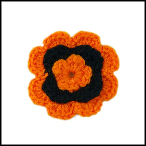 Orange & Black Flower - Bundle Up Crochet - 1