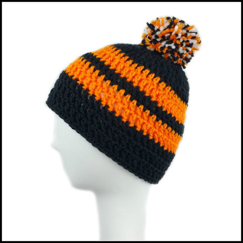 Black & Orange Hat - Bundle Up Crochet - Cincinnati Bengals - Beanie - Oregon State Beavers - Baltimore Orioles