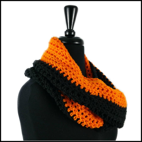 Orange & Black Infinity Scarf - Bundle Up Crochet - 2