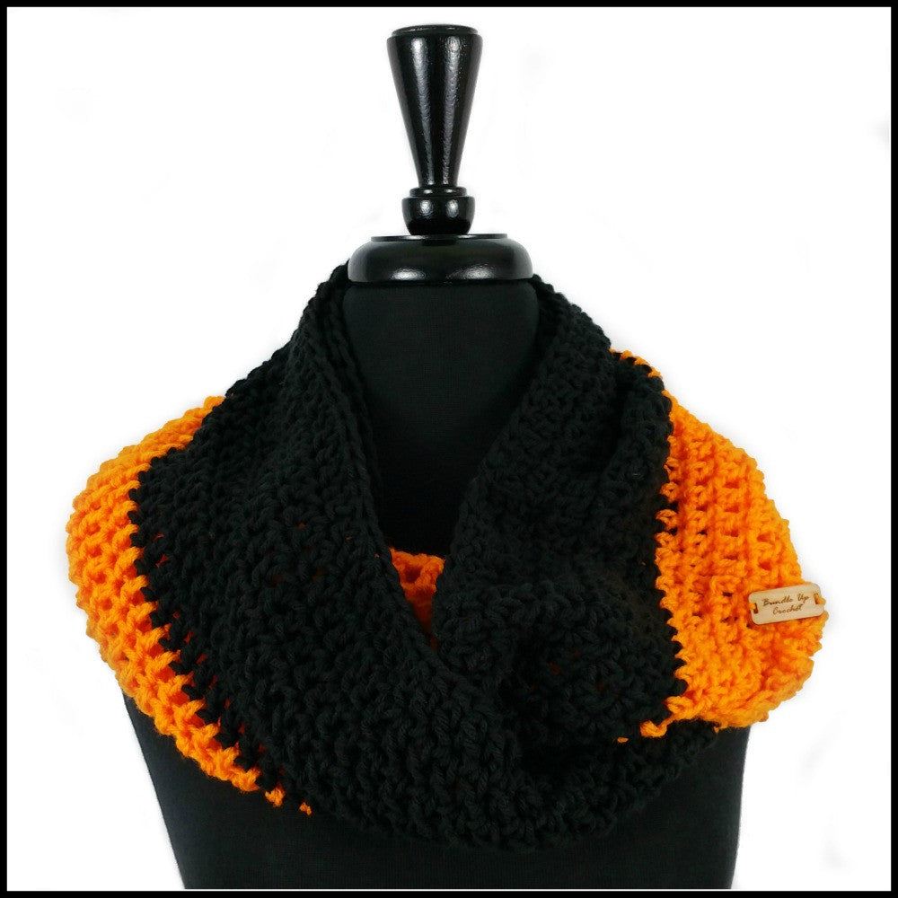Orange & Black Infinity Scarf - Bundle Up Crochet - 1