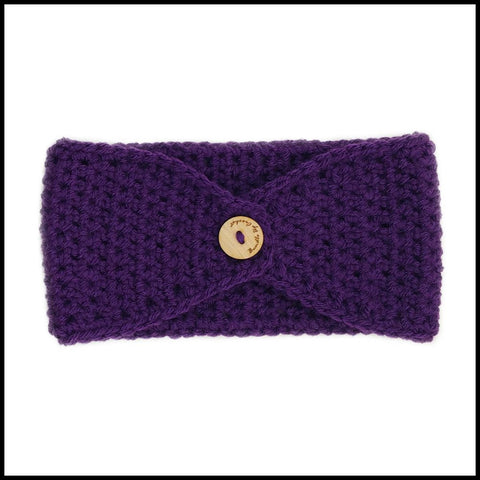 Purple Earwarmer with White Flower - Bundle Up Crochet - 2