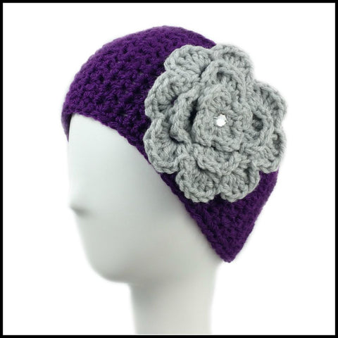 Purple Earwarmer with White Flower - Bundle Up Crochet - 4