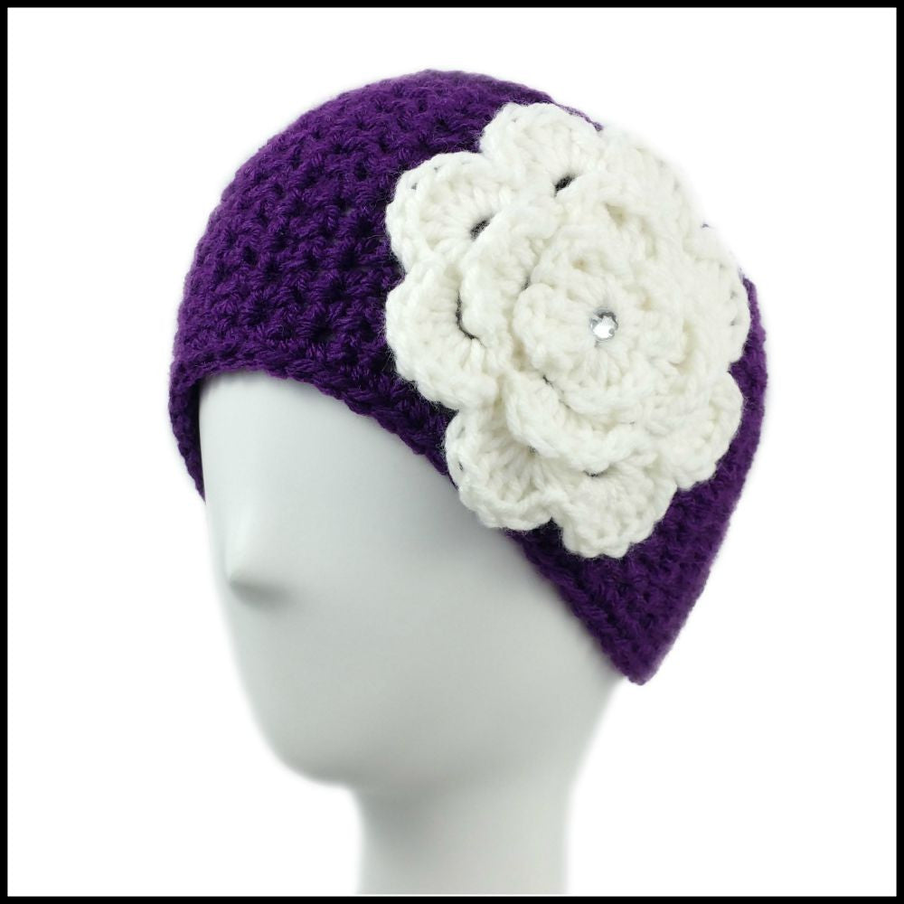 Purple Earwarmer with White Flower - Bundle Up Crochet - 1