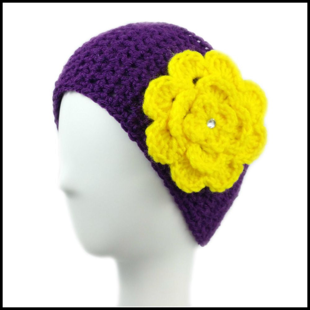 Purple Earwarmer with Yellow Flower - Bundle Up Crochet - 1