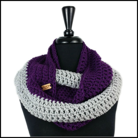 Purple & White Infinity Scarf - Bundle Up Crochet - 7