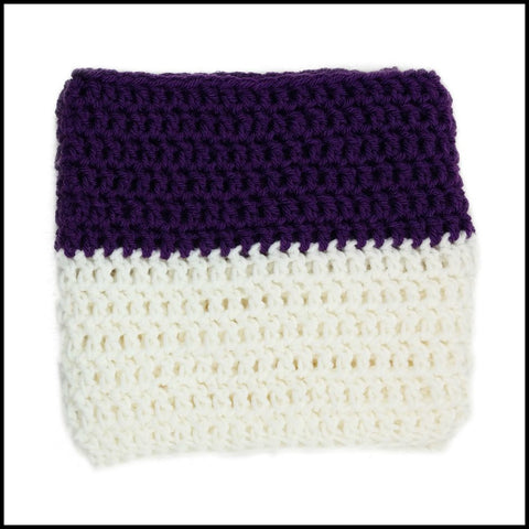 Purple & White Infinity Scarf - Bundle Up Crochet - 3